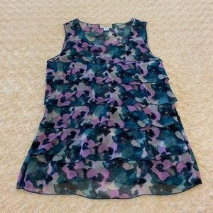 LOFT floral tiered ruffle top